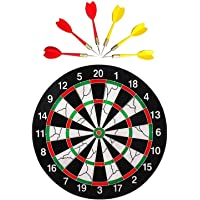 Farraige® Latest Wooden 17 inch Double Faced Flock Printing Thickening Family Game Dart Board with 6 Needle (17 x 17-inch)