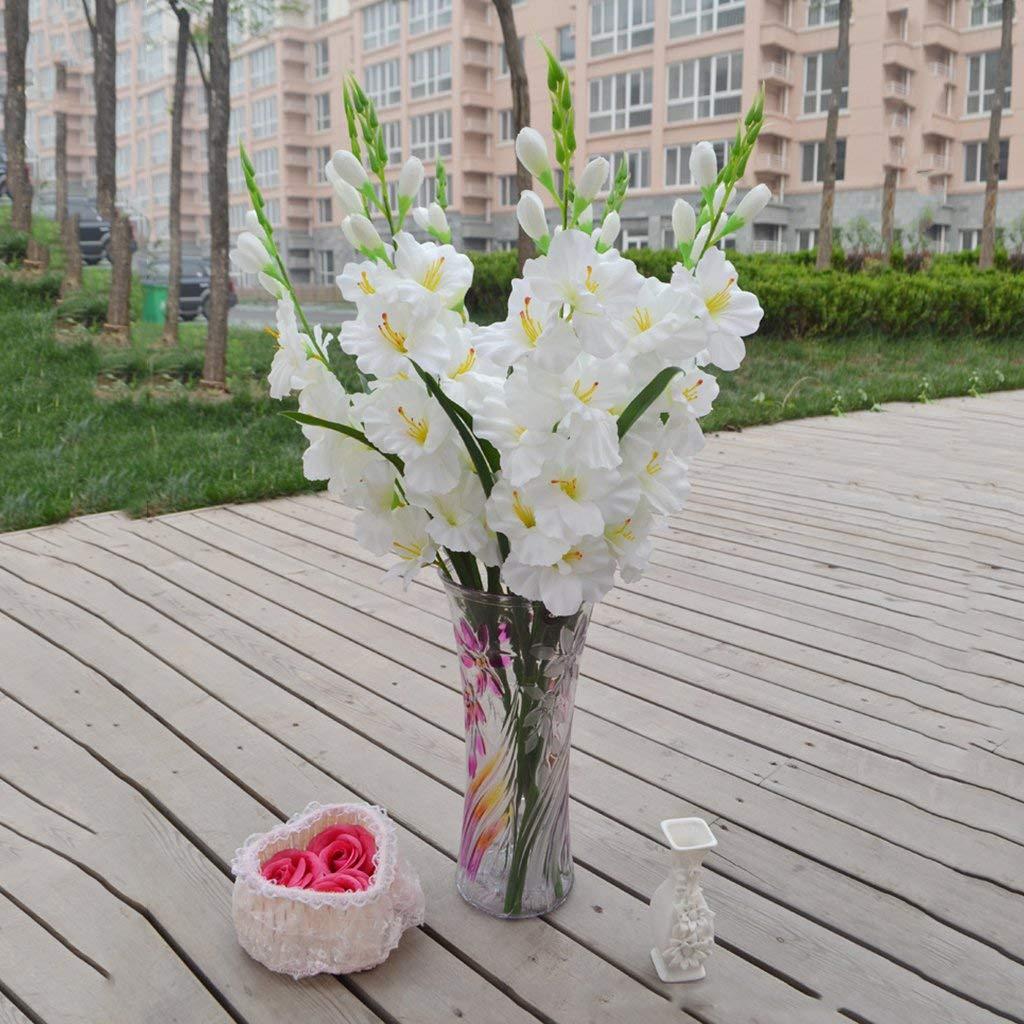 Ogquaton Vástago en Spray de gladiolos Artificiales Seda Falsa Flores Tropicales Gladiolo Blanco Duradero y útil