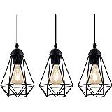 B.K.Licht Lampadario vintage, 3 punti luce, adatto per lampadine E27 non incluse max 40W, metallo nero, altezza totale 1,1m,