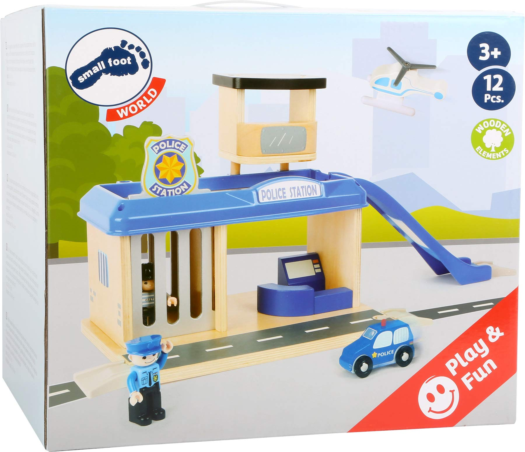 small foot 10797 Police station with accessories, including a policeman, robber, helicopter and car, from 3 years Small Foot World An impressive police station in a strong, vivid police blue Many extras like a policeman, a robber, a car and a helicopter Compatible with all common railway brands 8