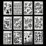 Tekening Stencils, 12 Pack DIY Tekening Schilderen Sjablonen Plastic Vormen Scrapbook Stencils voor Graffiti, Dagboek, Hout S