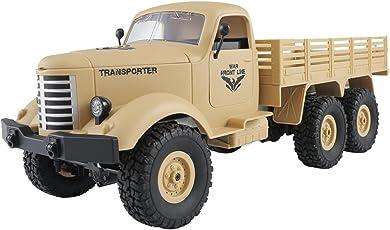 happy event JJRC Q60 RC 1:16 2.4G Fernbedienung, 6WD Verfolgt Offroad Militäry LKW Auto RTR Spielzeug Für Kinder und Erwachsene (Gelb)