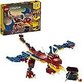 LEGO Creator 3in1 Drago del Fuoco - Tigre dai Denti a Sciabola - Scorpione, Set da Costruzione, Giocattolo Ispirato a Creatur