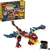 LEGO Creator 3in1 Drago del Fuoco - Tigre dai Denti a Sciabola - Scorpione, Set da Costruzione, Giocattolo Ispirato a…