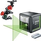 Bosch kruislijnlaser Quigo groen met klem (2x batterijen, groene laserdiode, werkbereik: 12 meter, in doos, groen laser)