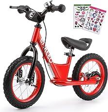 ENKEEO Premium Laufrad 12 Zoll & 14 Zoll Kinder Laufrad Lernlaufrad Balance Bike mit DIY-Aufkleber, Bremsen und Klingel ab 2 Jahren
