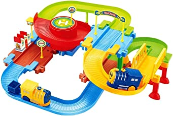 Webby Classic Toy Train Set with Upper and Lower Level and Bridge, Multi Color
