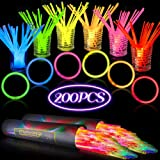 200 PCS 8 in Glow Stick Bracelets Glow in the Dark Sticks with Connectors Perfect for Birthday Parties, Party Favors, Camping