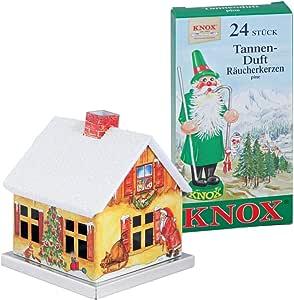 Knox Räucherhaus Aus Metall Haus Mit Weihnachtsmann Räucherkerzen Tannenduft 24 Räucherkerzen Der Größe M Küche Haushalt