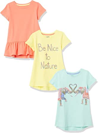 Spotted Zebra Girl's Short-Sleeve Tunic T-Shirts, Pack of 3