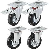 Miafamily Transportwielen voor zware belasting, zwenkwiel en zwenkwiel met rem, massief rubber, verzinkt zilver/zwart, set va