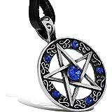 JewelryWe Gioielli Collana Uomo Acciaio Inox, Ciondolo Stella Blu Pentagram Pentacolo, Biker Catena 55cm Cool regalo di Natal