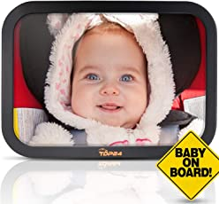 """TDP24 Rückspiegel - Babyspiegel für mehr Sicherheit im Auto - Bruchsicherer Autospiegel mit Bonus """"Baby on board"""" Schild + E-Book I Rücksitzspiegel I Sicherheitsspiegel"""