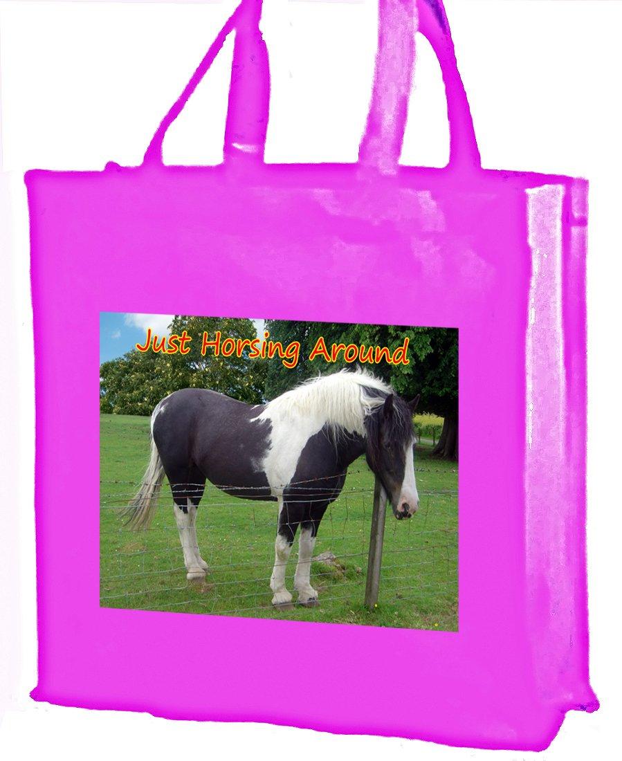 Piebald Horse Cotton shopping bag, rosa