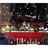 Bukely Pegatinas de Navidad, Navidad Decoracion Navidad Copo de Nieve, Pegatinas de Pared calcomanías de Ventanas Escaparate,