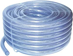 Au. 19mm ID 1 Metre Length Clear Braided PVC Hose With Synthetic Reinforment