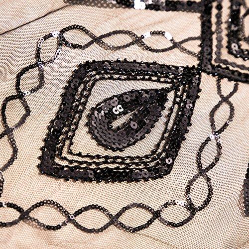 Metme Damen 1920er Jahre inspiriert klassischen V Ausschnitt ärmellose Perlen Pailletten Great Gatsby Kleid Partei Kleidung Schwarz + Rosa