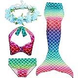 Hifunbay Cola de Sirena Niña para Nadar Incluido Traje de Sirena Baño de Bikini de 3 Piezas y Diadema con Guirnaldas de Flore