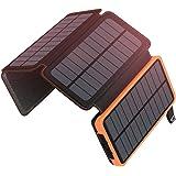 ADDTOP Solar Powerbank 25000mAh, Tragbare Solar Ladegerät mit 4 Solarpanels,Outdoor wasserfester externer Akku mit 2 USB Ports für iPhone, Samsung, Android Und Tablet, Kamera usw