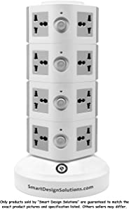 Universal Vertical Multi Socket 220V Tower Extension Electrical Outlet Lead with USB Ports 3M Cord and UK-Plug Power Strip M