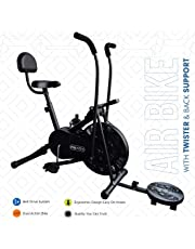 Reach AB-110 Air Bike Exercise Fitness Cycle with Moving or Stationary Handle Adjustments for Home - 3 Options (Moving/Stationary Handles | Back Support Seat |Twister)