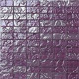 Glas Mosaik Fliesen Matte in Lila Texturiert Lava Baustein Effekt (MT0119)