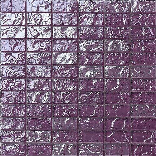 Glas-mosaik-fliese (Glas Mosaik Fliesen Matte in Lila Texturiert Lava Baustein Effekt (MT0119))