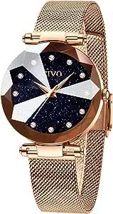 CIVO Montre Femme Or Rose Acier Inoxydable Montre Bracelet à Quartz Analogique Etanche Luxe Mode Montres pour Femme Entreprise Élégant (Bleu)