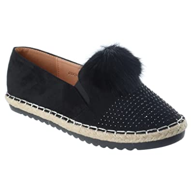 LADIES WOMENS FLAT LOW ESPADRILLES POM POM SLIP ON SUEDE SKATER PUMPS SHOES  SIZE: Amazon.co.uk: Shoes & Bags