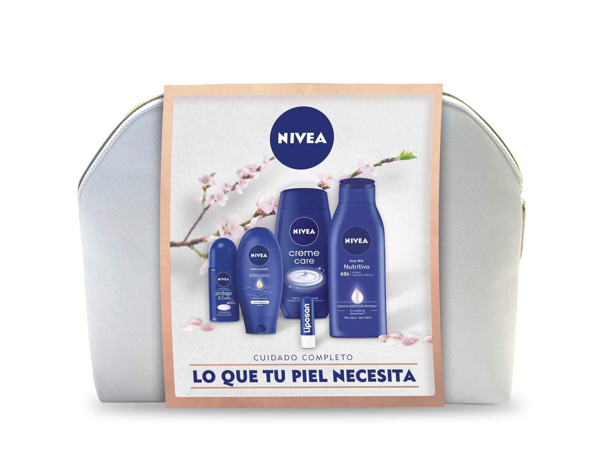 NIVEA Neceser Body Cuidado Completo con body milk 1 x 400 ml, crema de manos 1 x 100 ml, desodorante roll on 1 x 50 ml, gel de ducha 1 x 250 ml y bálsamo labial