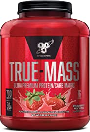 BSN TRUE-MASS Weight Gainer, Muscle Mass Gainer Protein Powder, Strawberry, 5.82 Pound