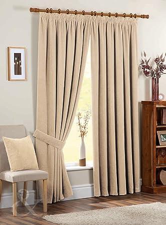 Just Contempo Chenille Pencil Pleat Lined Curtains, Cream, 90x72 ...