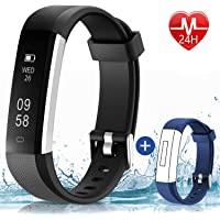 HolyHigh 115UHR Smart Fitness Band, Waterproof Fitness Tracker Watch for Men Women Kids Step Counter Claroie Counter Messages Call Alarm Reminder Cameral Shoot