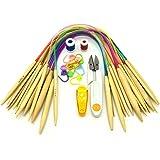 Wartoon 18 paires Ensemble d'aiguilles à tricoter circulaires d'aiguilles de crochet colorées en tube de tube de bambou de 40