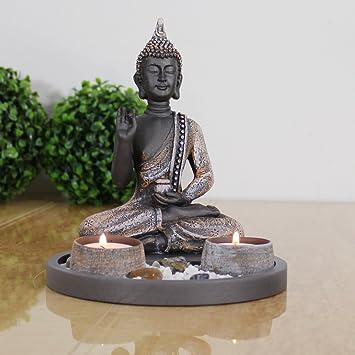 Amazonde Buddha Sitzend Mit Teelicht Deko Statue Fr Wohnzimmer Oder Bad Zen Garten Figur