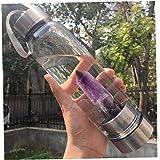 Borraccia in Cristallo Riutilizzabile 500 ml Manico Staccabile e Coperchio Superiore per la casa e i Viaggi DONGRAN con Bacchetta di Cristallo Naturale all/'Interno