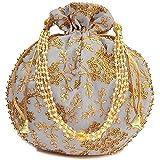 Ruchit Handicraft Potli | Wristlets Ethnic Potli For Women's | Designer Rajasthani Style Royal Clutch Silk Batwa Bag | Zari W
