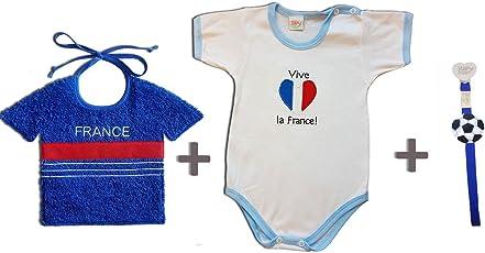 Zigozago–Set WM Frankreich bestehend aus Lätzchen + Body + Schnullerband 62