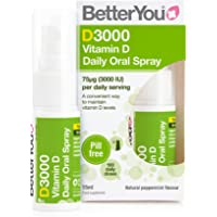 BetterYou D3000 Vitamin D Daily Oral Spray   3000 IU (75 UG) of Vitamin D3 (Cholecalciferol)   15 ml (100 Sprays…