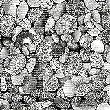 (7,49€/m) Weichschaummatte Antirutschmatte Badezimmermatte Sicherheit Badvorleger Badezimmer WC Meterware - Küche 65cm breite | Farbe : Steine Rund Natursteine grau 29-4-1