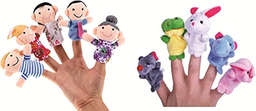 Skylofts Cute Animal Finger Puppet, Multi Color (Animal + Family Puppet ( Assorted 10pcs))