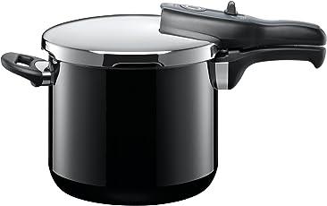 Silit Sicomatic t-plus Schnellkochtopf 6,5l, Silargan Funktionskeramik, 3 Kochstufen Einhand-Kochstufenregler induktionsgeeignet, spülmaschinengeeignet, schwarz, Ø 22 cm