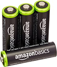AmazonBasics 4 Pack AA Ni-MH Pre-Charged Rechargeable Batteries, 1000 Recharge Cycles, (Typical 2000mAh, Minimum 1900mAh) - P