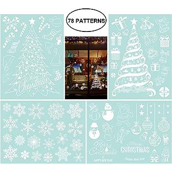 NICEXMAS Christmas Window Clings Xmas Ornaments - 78PCS Trees/Snowflakes/Baubles/Bells/stocking