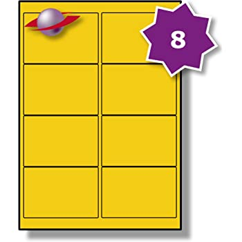 8 per page sheet 25 sheets 200 sticky yellow labels label planet