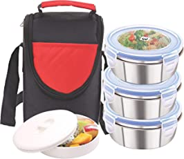 Rema - Stainless Steel Lunch Box Set - 3 Containers - 300ml Each - Delivered Directly from Factory