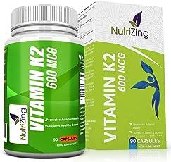 NutriZing Vitamin K2 Kapseln ~ 600 mcg ~ Verbesserte Herz und Blut Gesundheit ~Unterstützt Knochen Mineralisation und Calcium Uptake ~für Männer und Frauen ~ Vitamine MK7 menaquinon hochdosiert ~ Natto