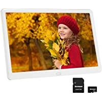 Digital Photo Frame 10 inch with 32GB SD Card, Kenuo Digital Picture Frame 1920x1080 FHD IPS Display, Photo/Music/Video…