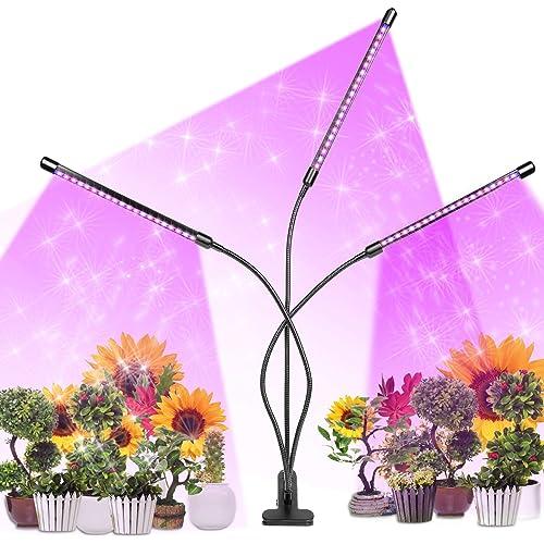 infinitoo Lampada per Piante, Upgrade Grow Light Full Spectrum Lampade LED per Piante con 60LEDs 3 Teste con 360 Gradi Flessibile Collo di Cigno, con Timer 3/6/12H Lampade LED Coltivazione