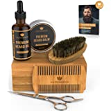 Naturenics Premium Beard Grooming Kit for Mens Care - 100% Organic Unscented Beard Oil, Beard Brush, Dual Teeth Comb, Mustach